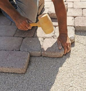 Укладка тротуарной плитки с частичной подготовкой основания