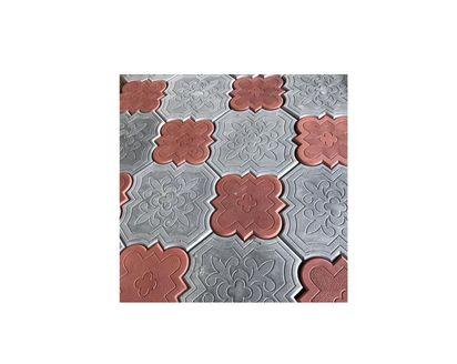 Тротуарная плитка краковский клевер с сочетанием цветов красный и серый
