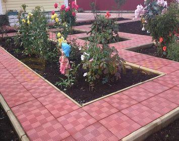 Дорожки на даче для грядок из тротуарной плитки паркет красного цвета
