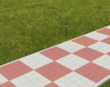 Дорожка на даче мощенная тротуарной плиткой 8 кирпичей серого и красного цвета в шахматном порядке